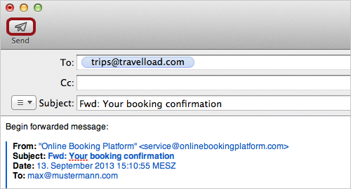 Reisebestätigung per E-Mail senden